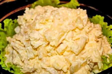 Салат курица с ананасами классический рецепт