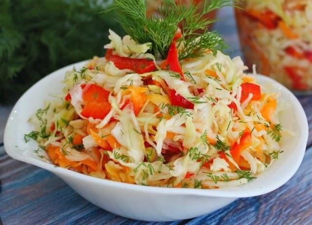 рецепт маринованная капуста с болгарским перцем быстрого приготовления